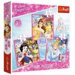 Set puzzle 3 in 1 Trefl Disney Princess Lumea fermecata a printeselor