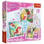Set puzzle 3 in 1 Trefl Disney Princess Rapunzel Printesele Aurora si Ariel