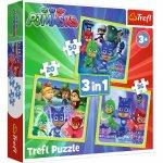 Set puzzle 3 in 1 Trefl Eroi in Pijama Gata de actiune