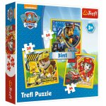 Set puzzle 3 in 1 Trefl Paw Patrol Marshall Rubble si Chase