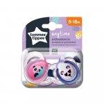Suzete ortodontice Tommee Tippee Anytime 6-18 luni Ursuleti Panda Roz/Alb