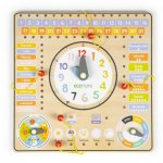 Tabla din lemn cu ceas si calendar Ecotoys ESC-W-036