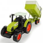 Tractor Dickie Toys Claas Ares cu remorca