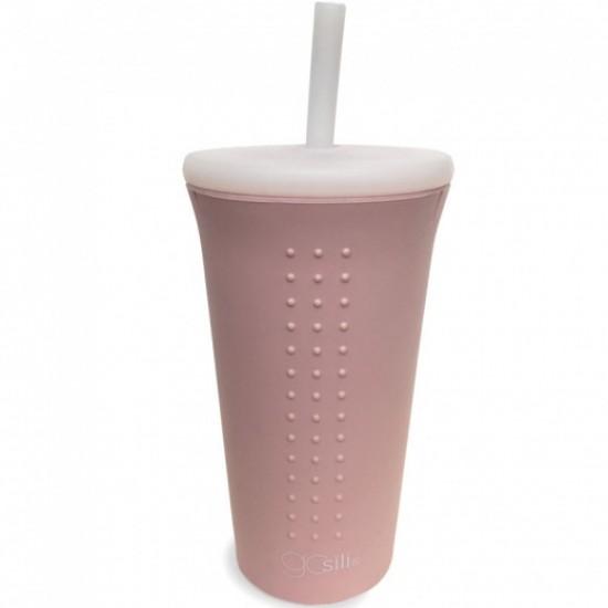 Cana din silicon cu capac si pai GoSili Millennial Pink