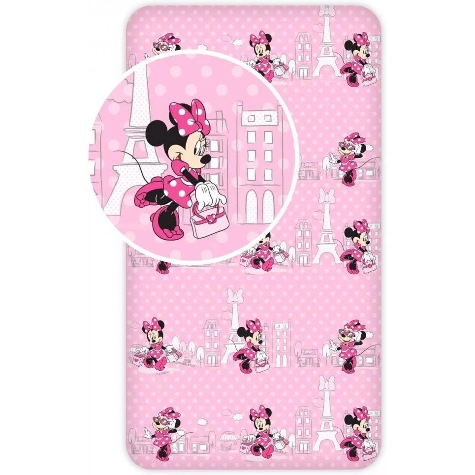 Cearsaf de pat cu elastic Minnie in Paris 90x200 cm SunCity roz