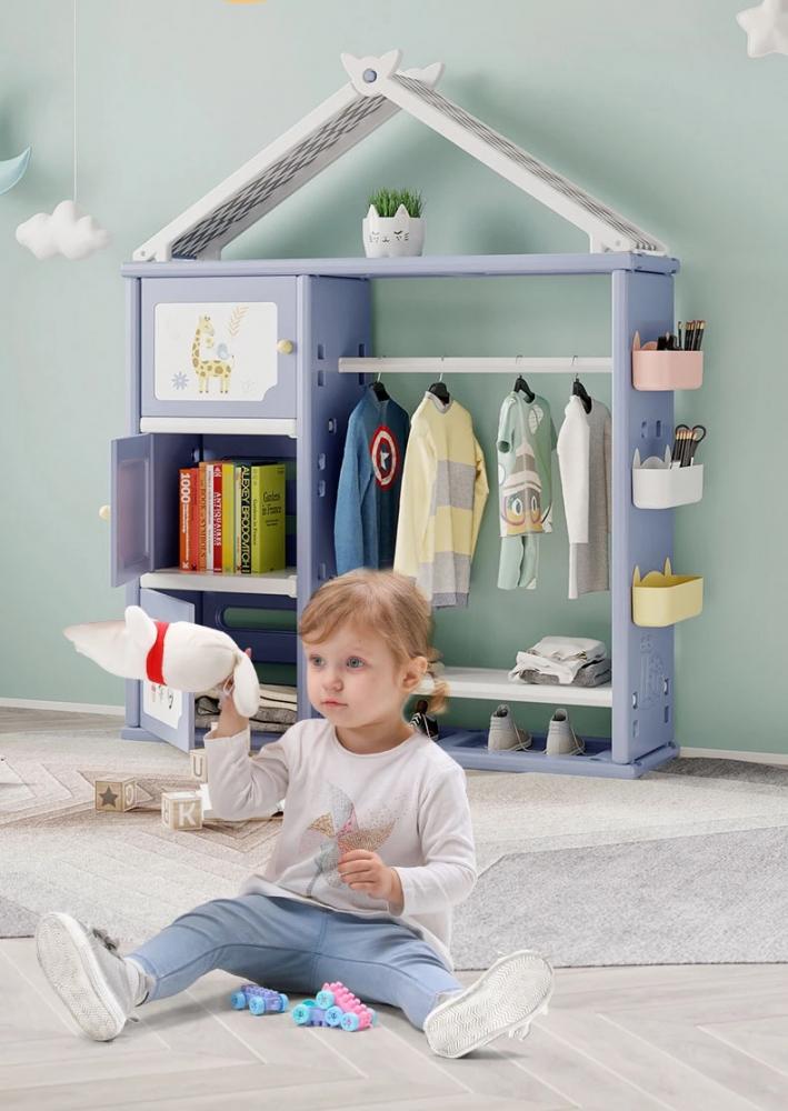 Dulap organizator pentru copii Nichiduta Happy House Blue