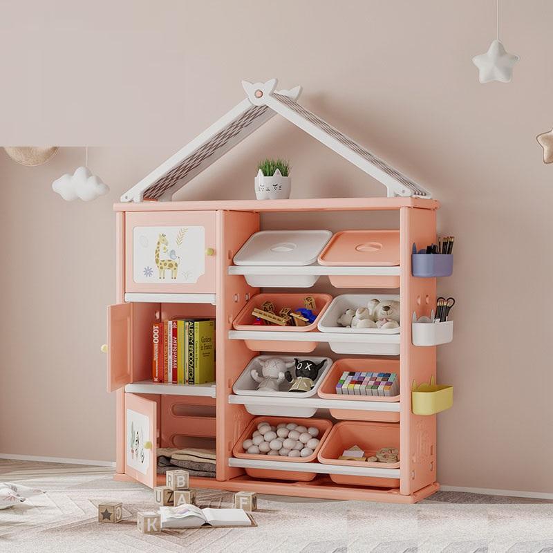 Dulap organizator pentru copii cu 8 cutii Happy House Pink