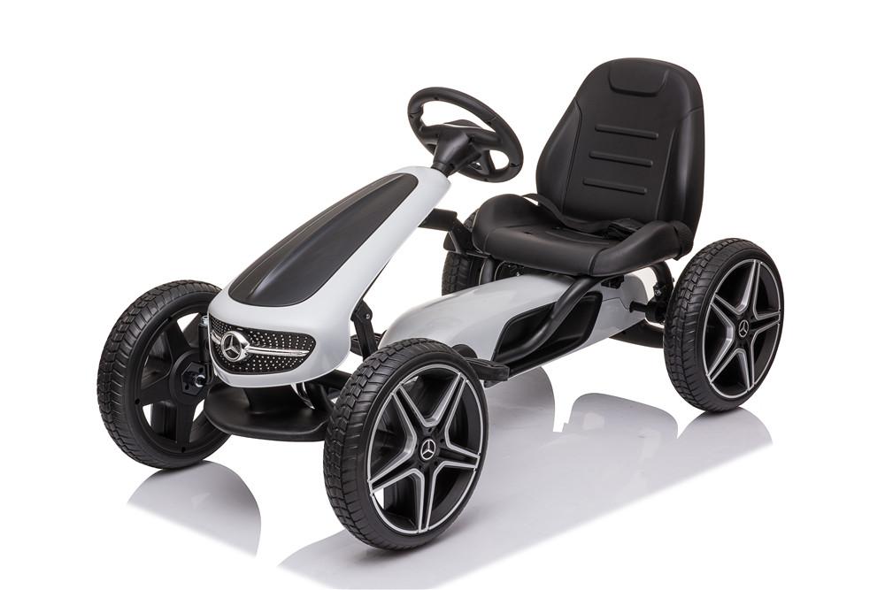 Kart cu pedale si roti din cauciuc EVA Mercedes-Benz White