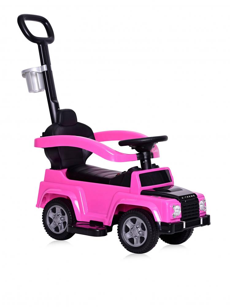 Masinuta de teren X-Treme cu maner parental pink