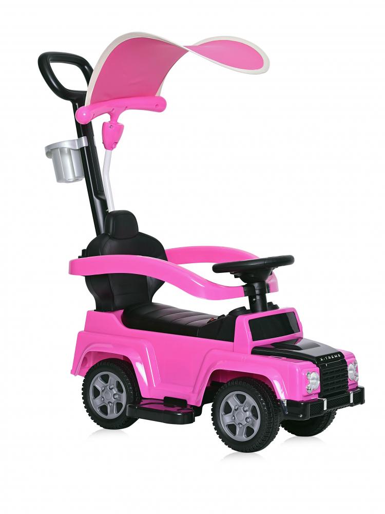 Masinuta de teren X-Treme cu maner parental si copertina pink