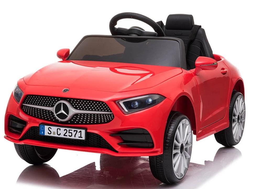 Masinuta electrica cu roti din cauciuc si scaun piele Mercedes CLS350 Red