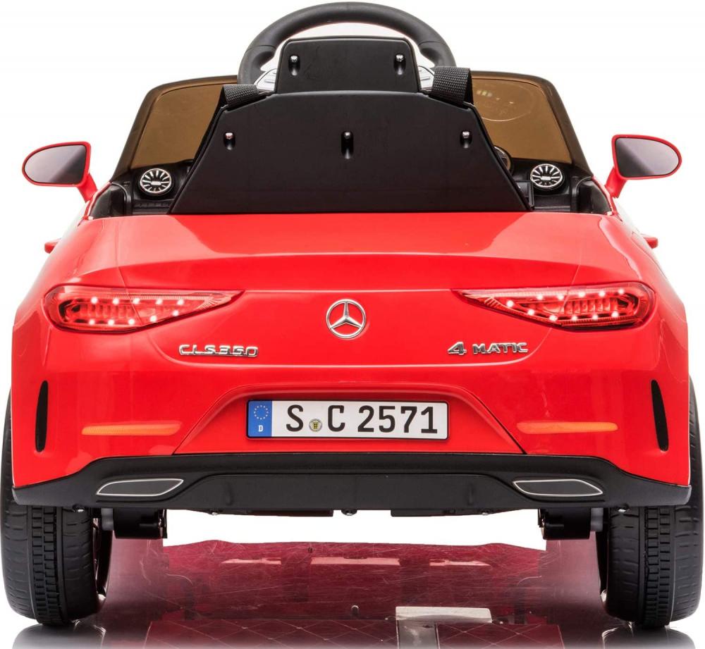 Masinuta electrica cu roti din cauciuc si scaun piele Mercedes CLS350 Red - 1