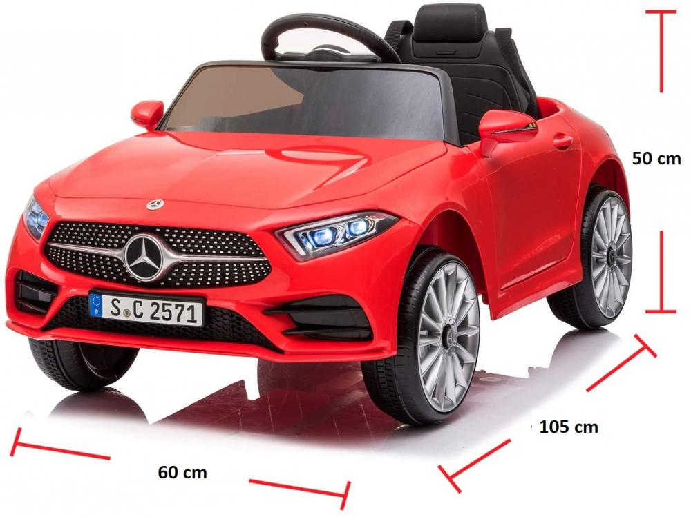 Masinuta electrica cu roti din cauciuc si scaun piele Mercedes CLS350 Red - 2