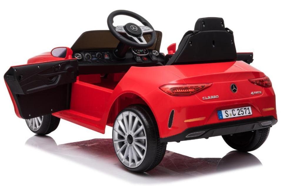 Masinuta electrica cu roti din cauciuc si scaun piele Mercedes CLS350 Red - 5