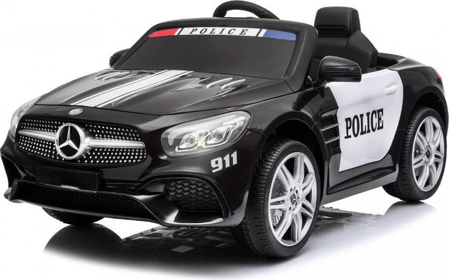 Masinuta electrica cu scaun de piele Mercedes SL500 Police Black