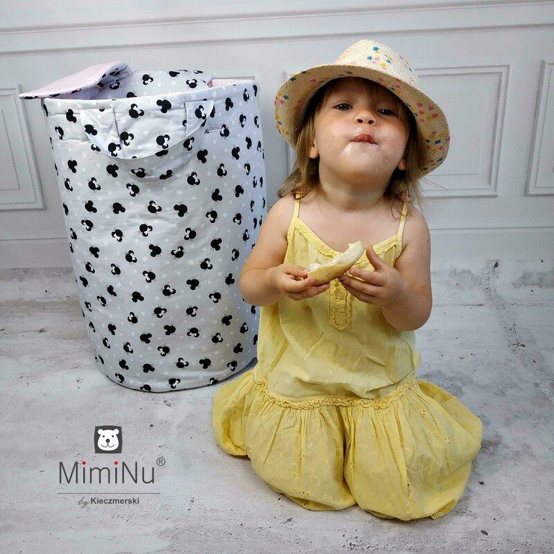 Cos rotund pentru depozitare jucarii 35x50 cm Childrens Journey Grey MimiNu