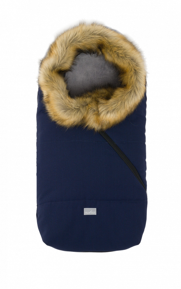 Sac de iarna cu blanita 80 cm Checkered Black Beige 9236 Nuvita Ovetto Pop