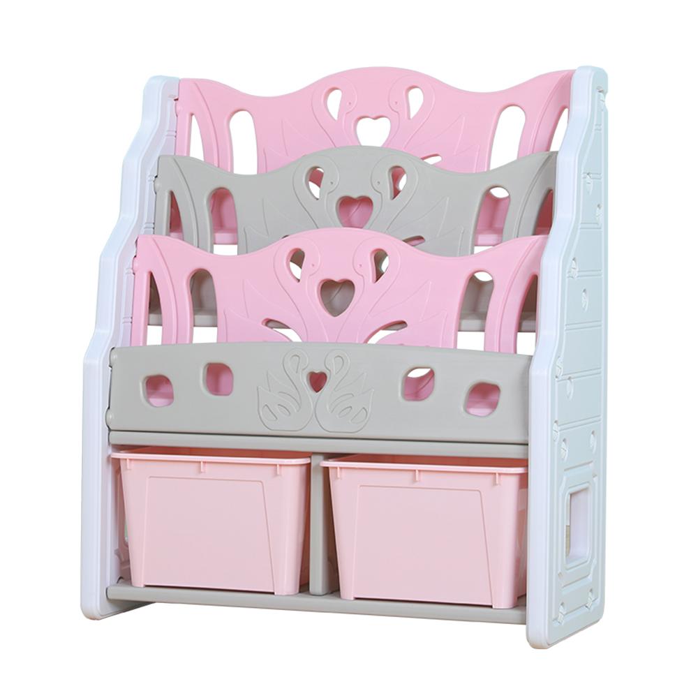 Organizator pentru carti cu 2 cutii depozitare jucarii Nichiduta Pink Swan - 2