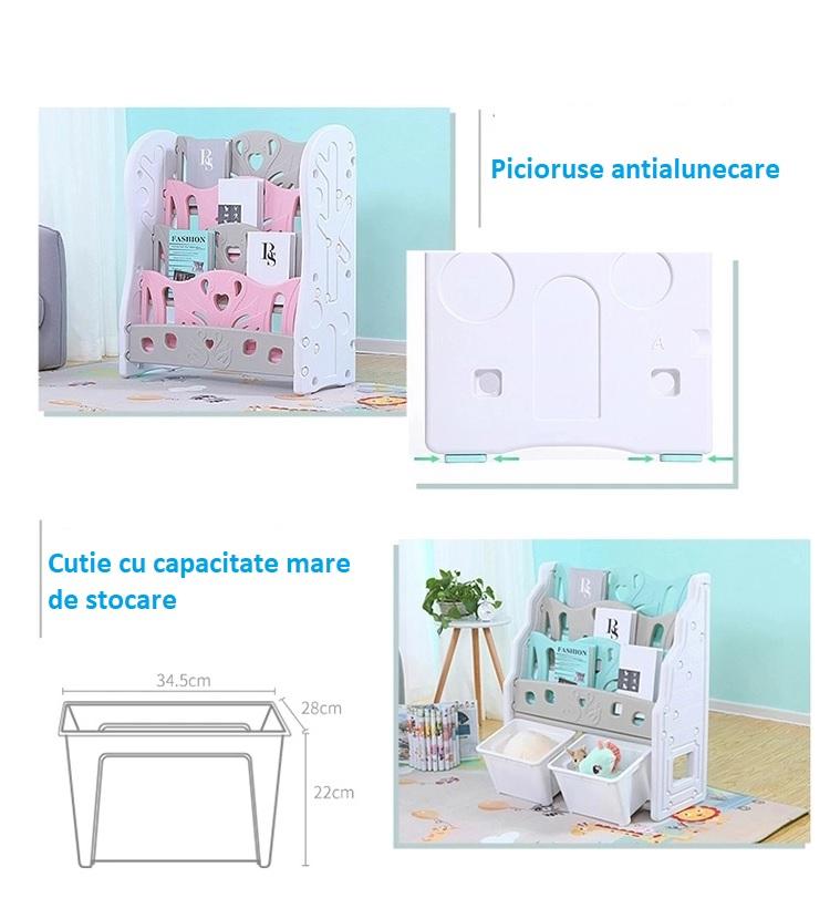 Organizator pentru carti cu 2 cutii depozitare jucarii Nichiduta Pink Swan