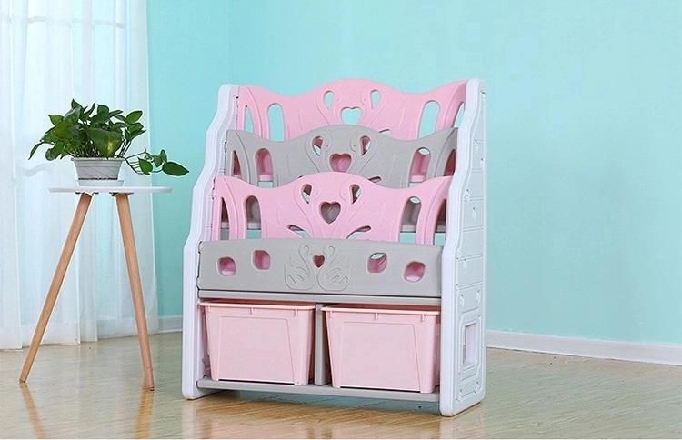 Organizator pentru carti cu 2 cutii depozitare jucarii Nichiduta Pink Swan - 1