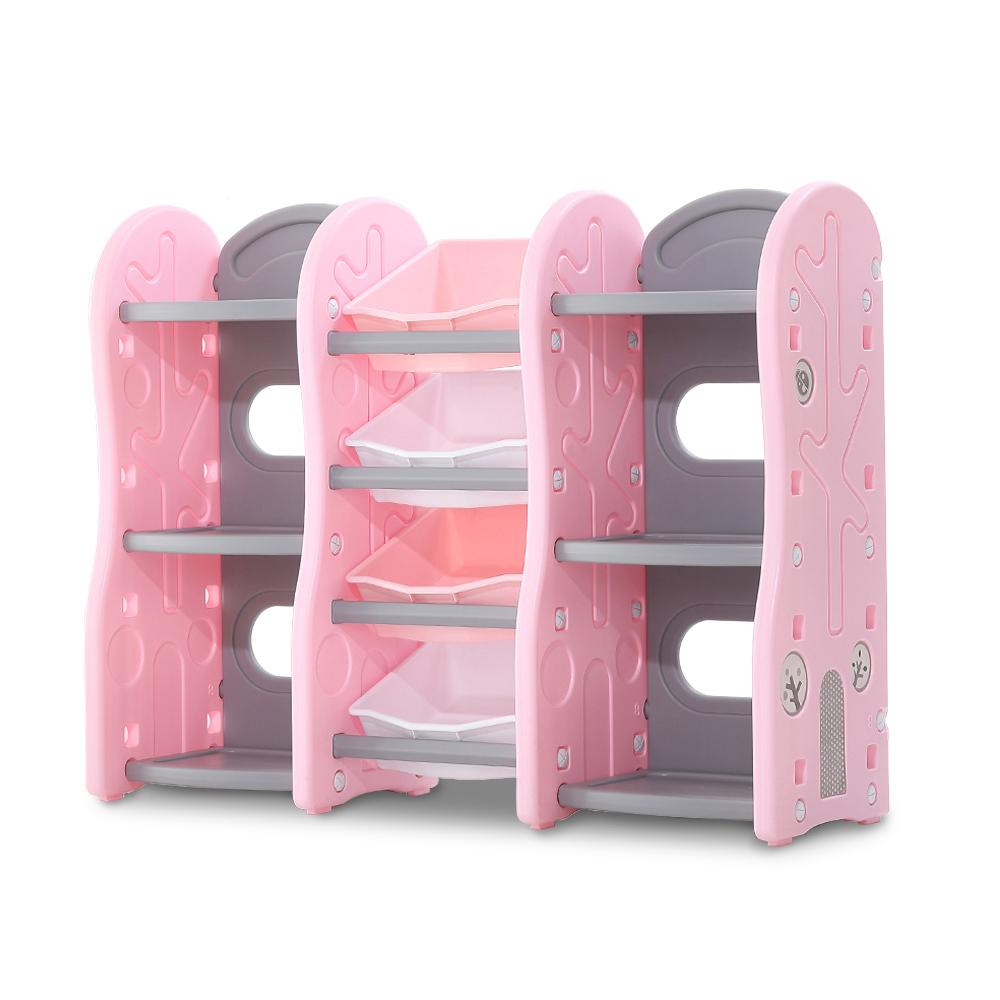 Organizator Nichiduta Tree Pink pentru jucarii cu 4 cutii si rafturi