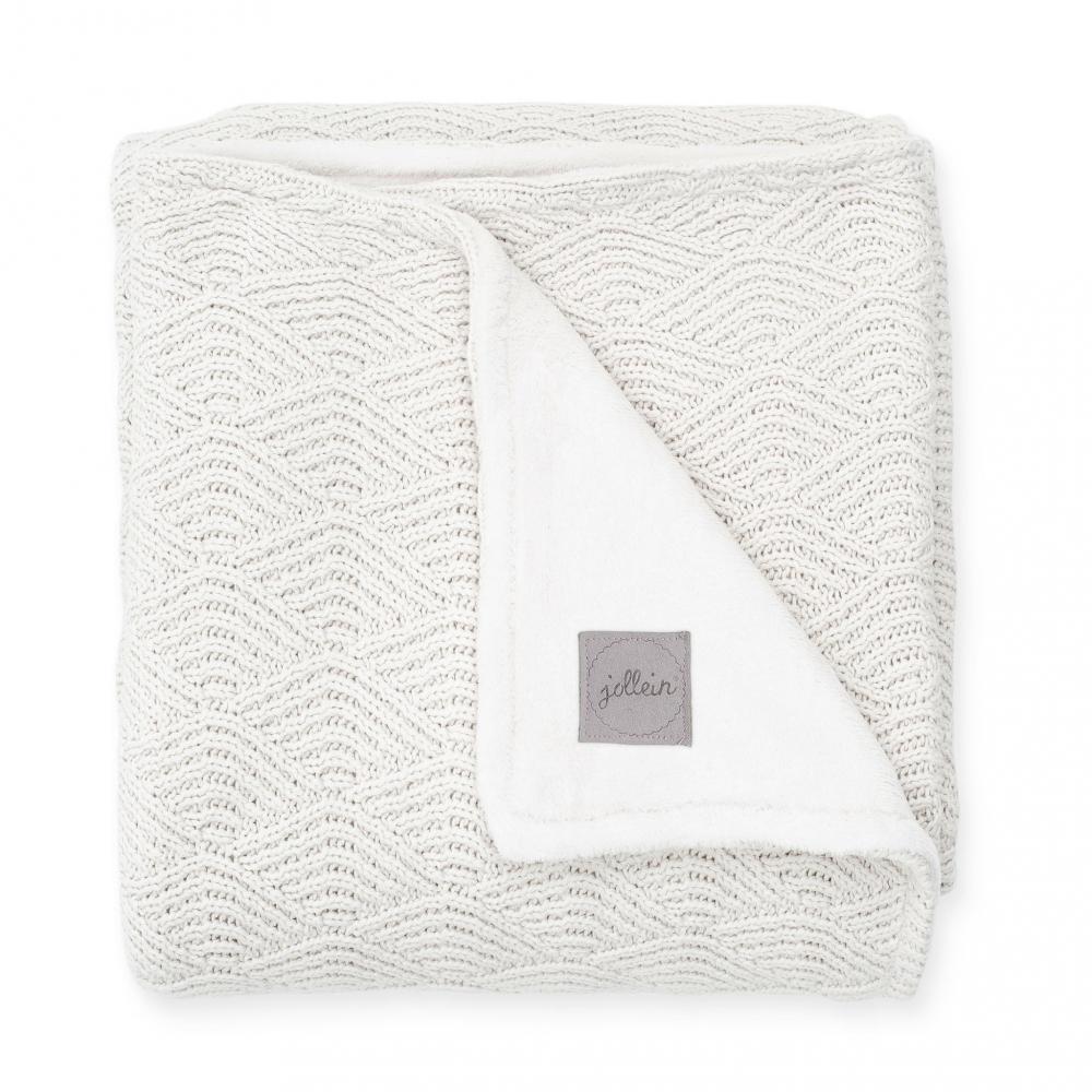 Paturica bebe cu fleece 100x150 cm Jollein River Cream-White