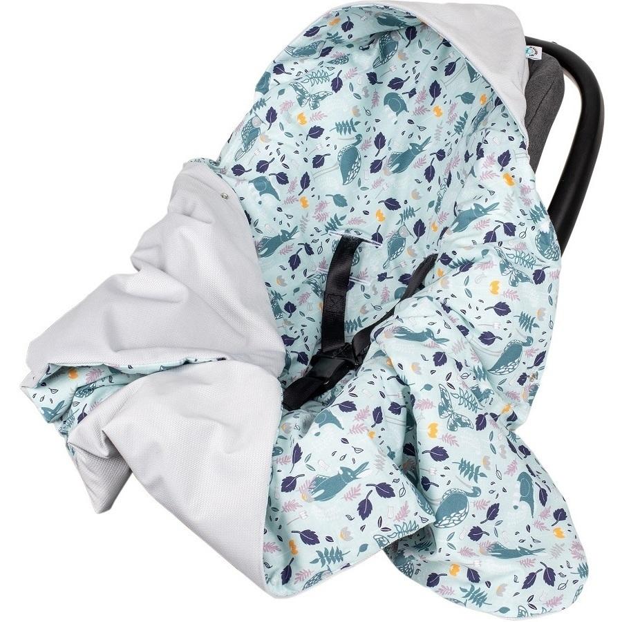 Paturica de infasat pentru scaun auto Velvet Infantilo IF19109 Blue RabbitGri