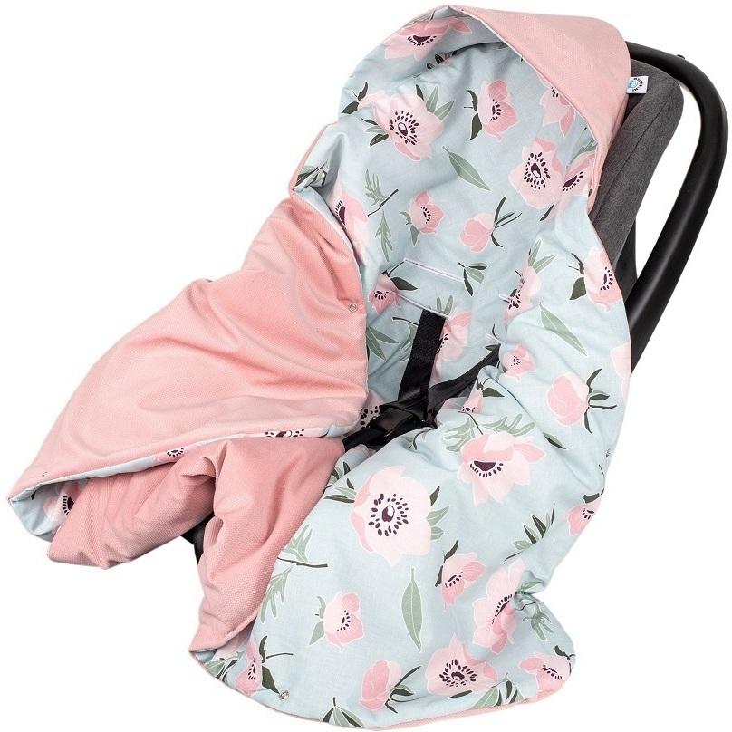 Paturica de infasat pentru scaun auto Velvet Infantilo IF19109 Pink FlowerRoz