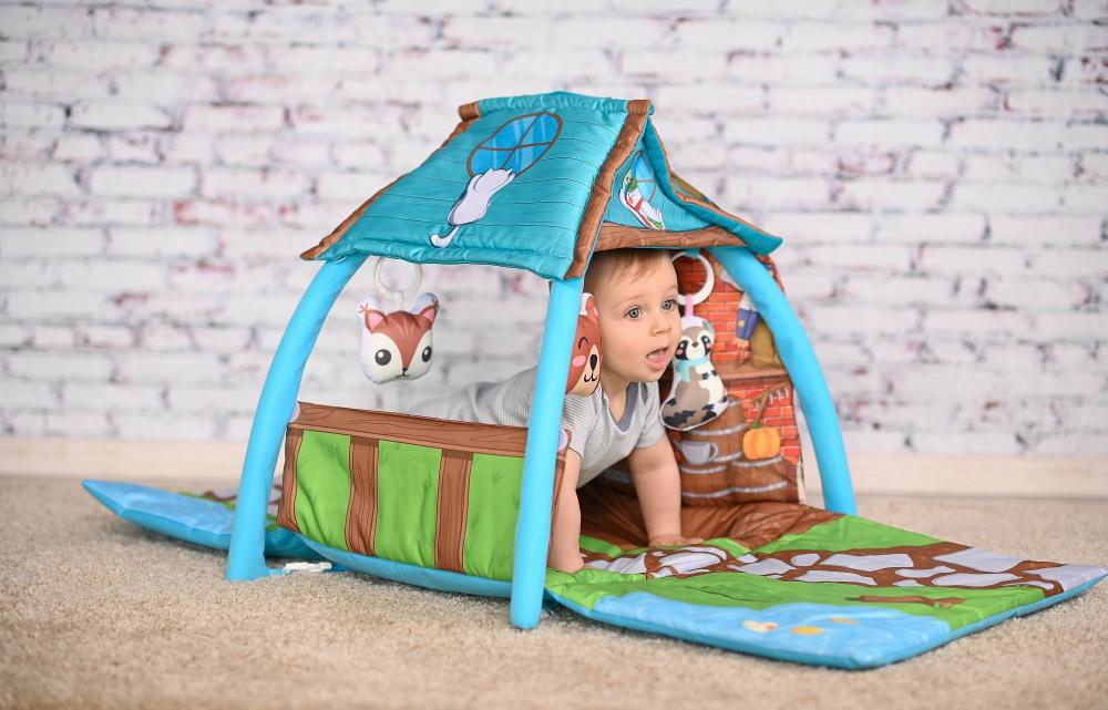 Saltea de activitate tip casuta Little House 113x56x53 cm multicolor imagine