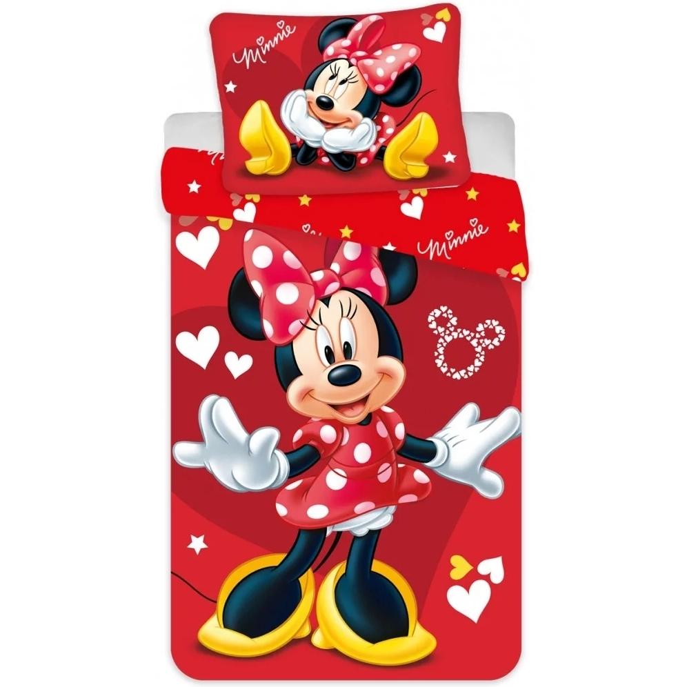Set lenjerie pat copii Minnie Red 100x135 + 40x60 SunCity rosu