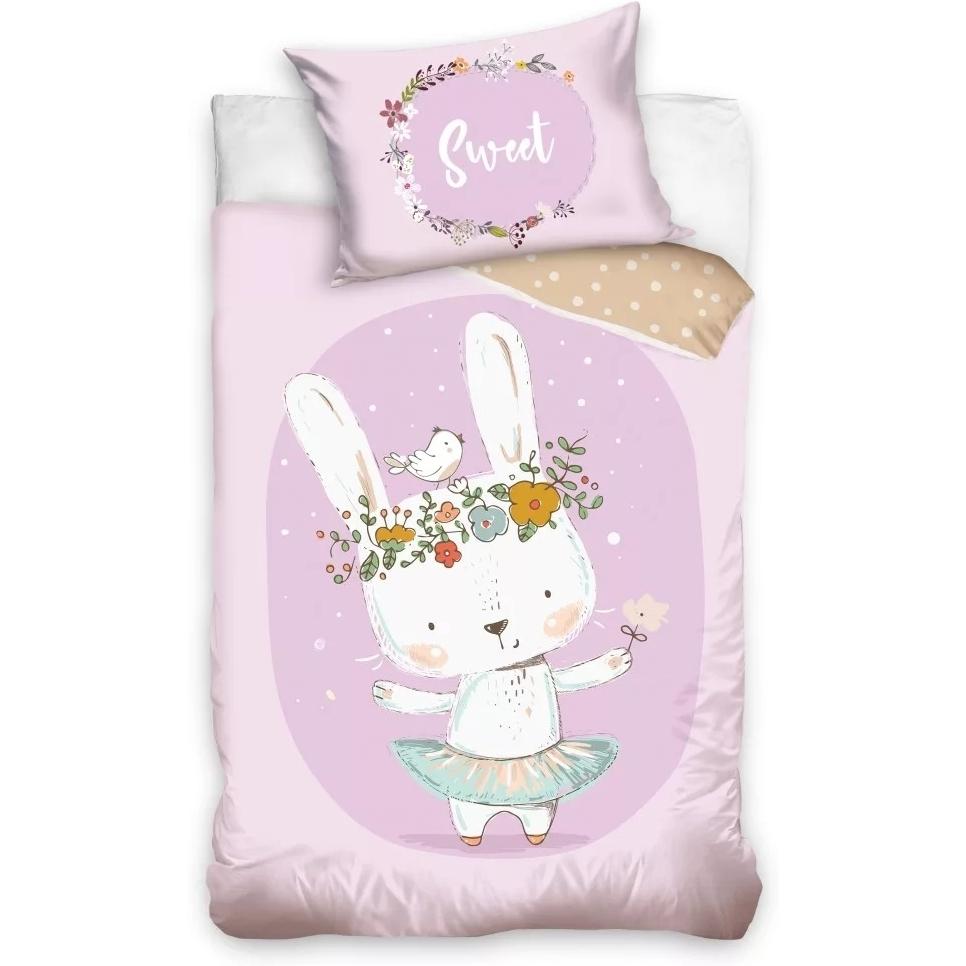 Set lenjerie pat copii Rabbit Sweet 100x135 + 40x60 SunCity roz