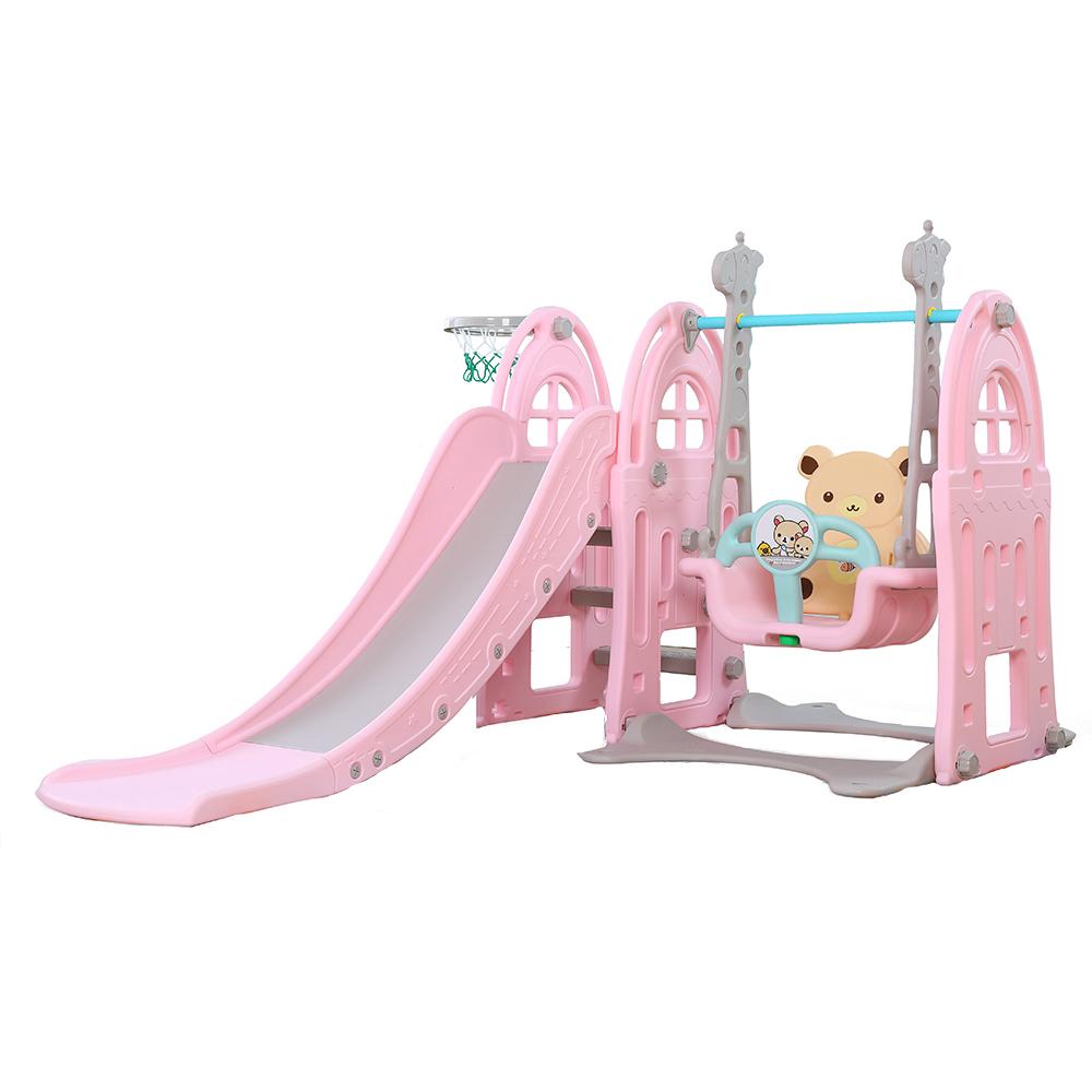 Spatiu de joaca 3 in 1 cu leagan si tobogan Nichiduta Castle Pink