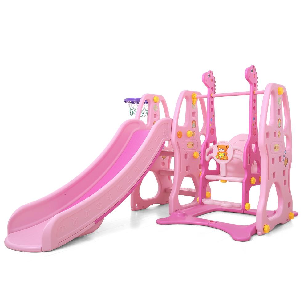 Spatiu de joaca Nichiduta Giraffe Pink 3 in 1 cu leagan,tobogan si cos de baschet