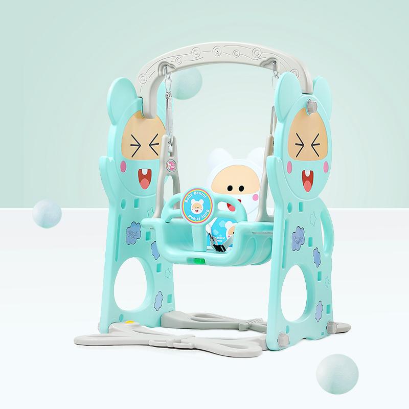 Spatiu de joaca 3 in 1 cu leagan si tobogan Nichiduta Happy Baby Blue imagine