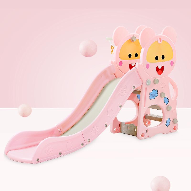 Spatiu de joaca 3 in 1 cu leagan si tobogan Nichiduta Happy Baby Pink imagine