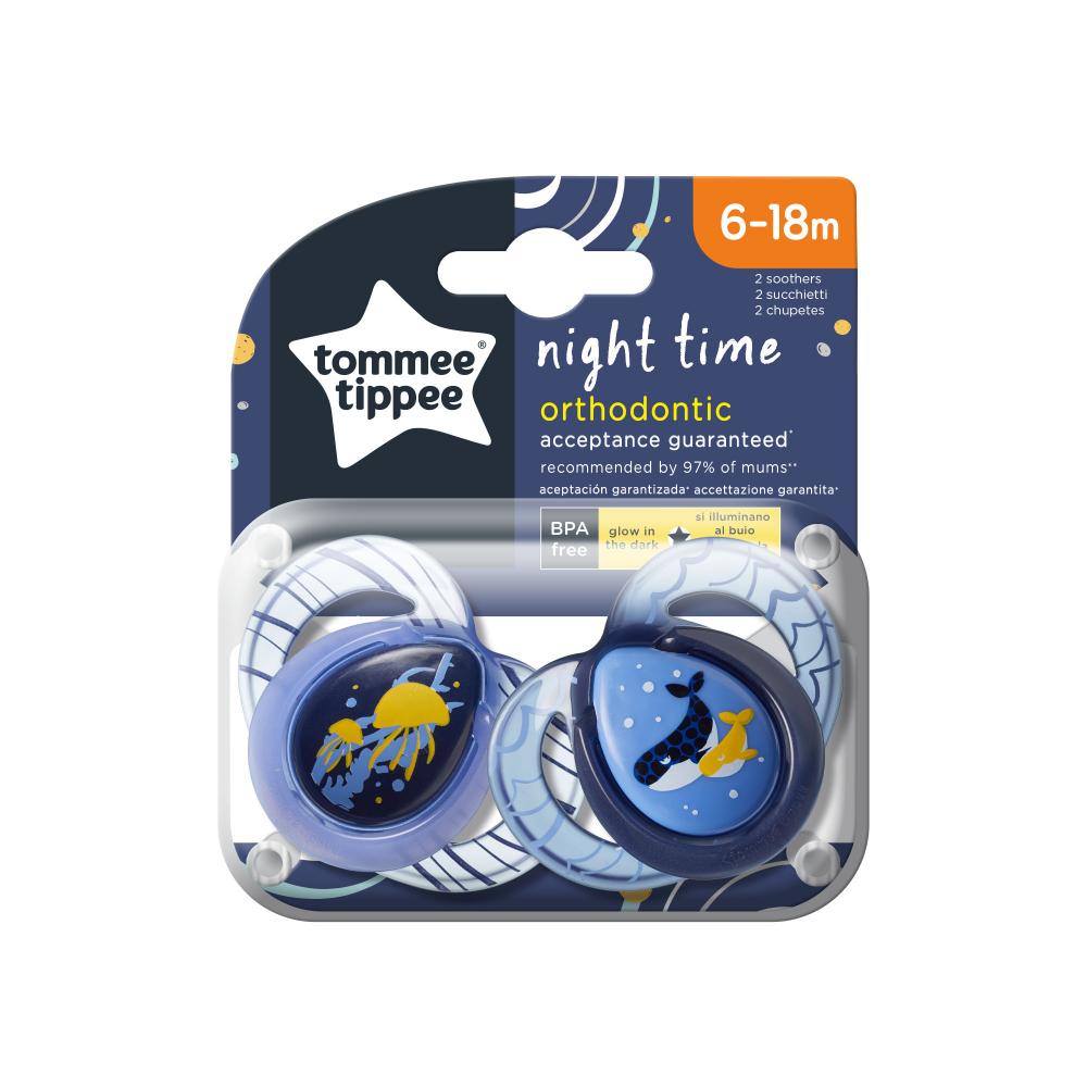 Suzete ortodontice de noapte Tommee Tippee 6-18 luni MeduzeBalenute imagine