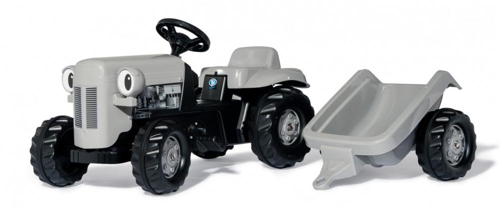 Tractor cu pedale Rolly Kid Little Grey Fergie cu remorca - 1