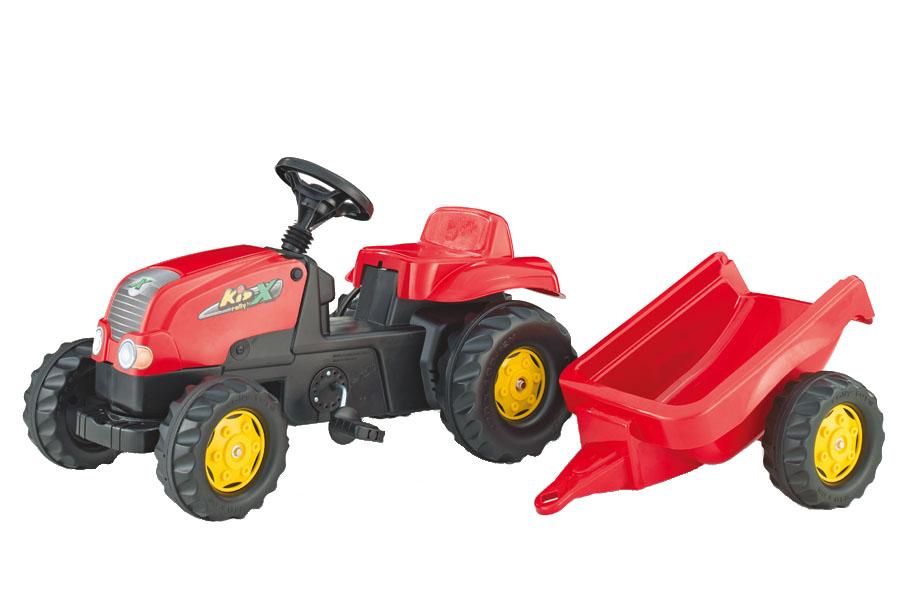 Tractor cu pedale Rolly Kid X rosu cu remorca - 1