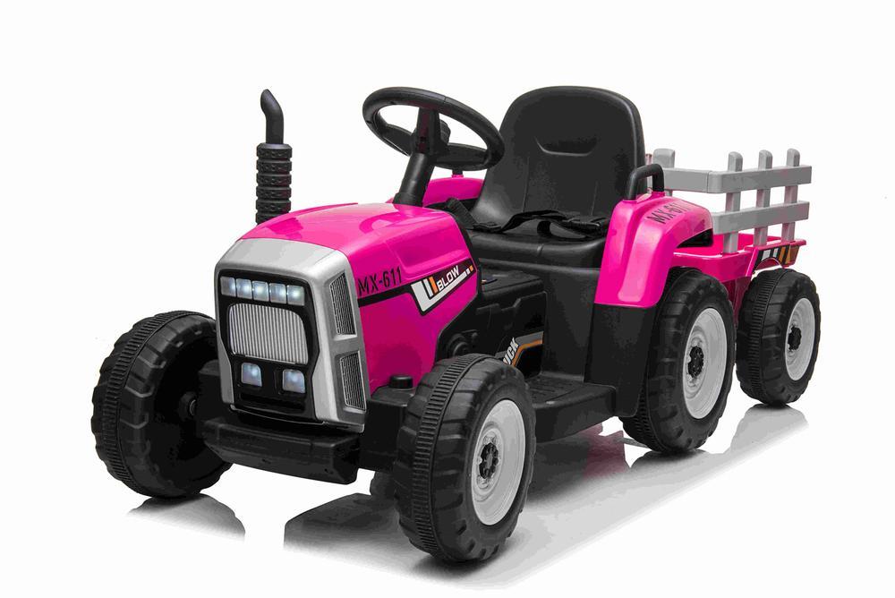 Tractor electric 12V cu remorca si telecomanda Farmer Pink