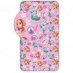 Cearsaf de pat cu elastic Paw Patrol Pink 90x200 cm SunCity roz