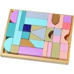 Cuburi multicolore din lemn Ecotoys cu suport tip tava