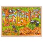 Puzzle din lemn pui de animale salbatice