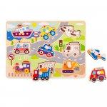 Puzzle de potrivit mijloace de transport Tooky Toy 9 piese