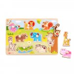 Puzzle din lemn Tooky Toy Animale 9 piese