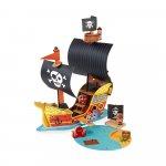 Set de joaca din lemn mini povesti Corabie de pirati Janod J08579