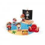 Set de joaca din lemn mini povesti Set de pirati Janod J08580