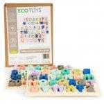 Tabla educationala din lemn cu cifre si litere 51 de elemente Ecotoys MA4512