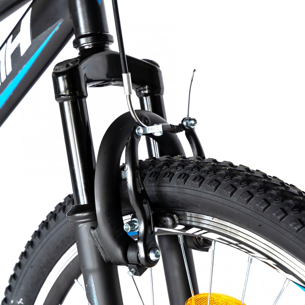 Bicicleta munte dubla suspensie Rich R2449A roata 24 frana V-Brake 18 viteze negrualbastru
