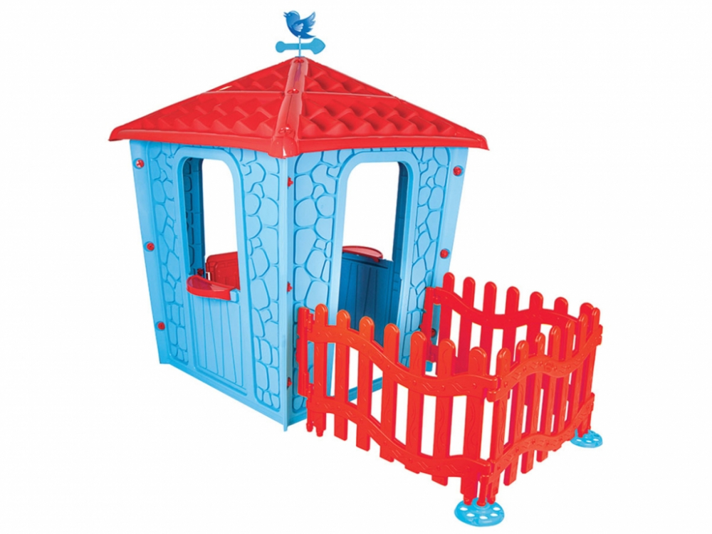 Casuta pentru copii Stone House Blue cu gardulet