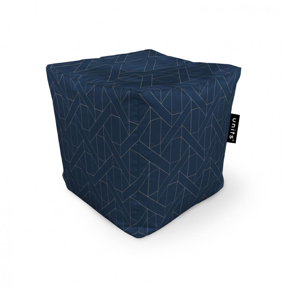 Fotoliu Units Puf Bean Bags tip cub impermeabil albastru inchis si linii bej